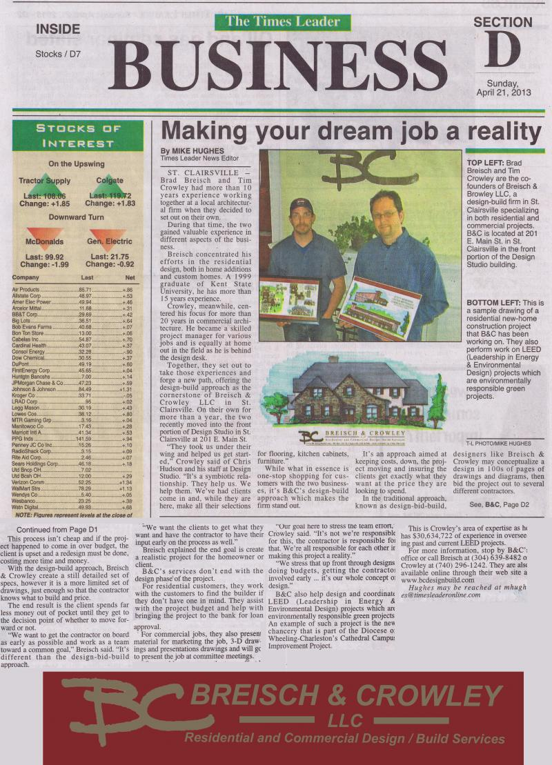 April 2013 Times Leader article